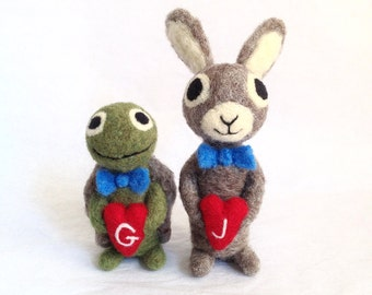 The Tortoise and The Hare - Life Partner  Felted Bunny Rabbit and Turtle with Red Hearts - Bridal Gift -Same Sex Wedding Cake Topper