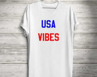 USA Vibes, Patriotic T-shirt, Fourth of July Tank, Patriotic T-shirt,  Independence Day, Memorial Day Shirt