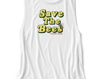 Save The Bees, eco friendly, wildlife tee, tank, womens clothing, bee shirt, bee tank, bee top, women's top