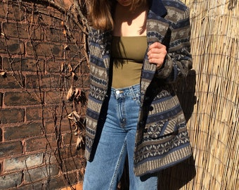 SALE - blue and neutrals wool blend printed jacket - medium / large