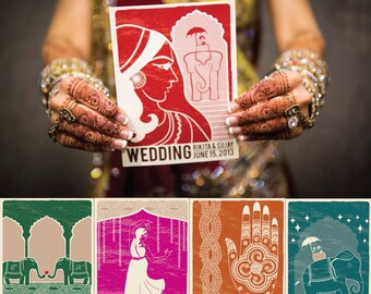 Modern Indian Wedding Invitation - Vintage Poster Wes Anderson Inspired - DIGITAL FILES