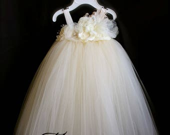 Ivory Vintage Tutu Dress / Ivory Flower Girl Dress / Ivory Tutu Dress
