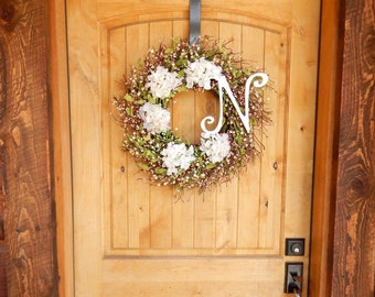 Summer Wreath-Housewarming Gift-Wedding Decor-Cottage Chic-Hydrangea Door Wreath-Shabby Chic Decor-Gift for Mom-Wedding Gift-Weddings