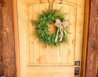 BOXWOOD Wreath-Fern Wreath-Summer Wreath-Fall Wreath-Outdoor Wreath-Year Round Wreath-Farmhouse Decor-Country Cottage Wreath-Made USA-Gift