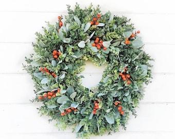 Fall Wreath-Greenery Wreath-Autumn Wreath-Farmhouse Decor-Farmhouse Wreath-FROSTED EUCALYPTUS Wreath-Orange Wreath-Outdoor Wreath-Gift