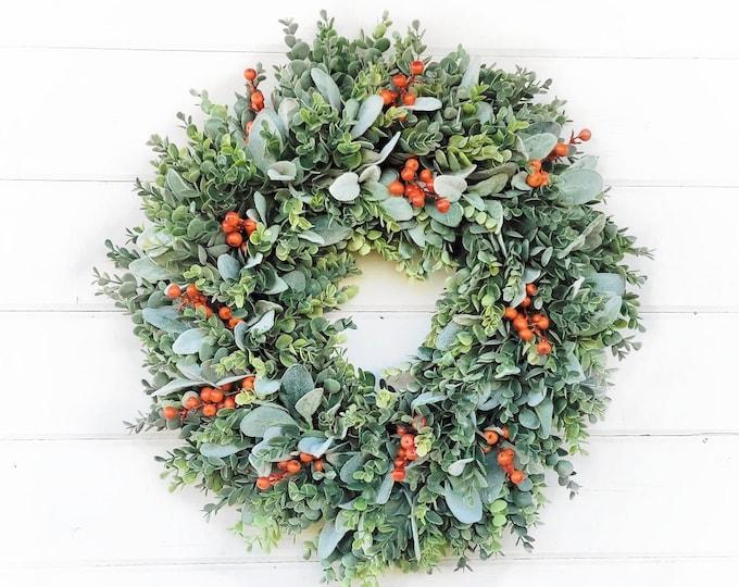 Featured listing image: Fall Wreath-Greenery Wreath-Autumn Wreath-Farmhouse Decor-Farmhouse Wreath-FROSTED EUCALYPTUS Wreath-Orange Wreath-Outdoor Wreath-Gift
