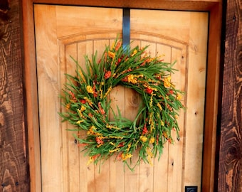 Summer Wreath-Fall Wreath-Autumn Wreath-Orange WILDFLOWER Wreath-Autumn Door Wreath-Housewarming Wreath-Gift for Mom-Door Wreath-Gifts