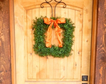 Fall Wreath-Boxwood Wreath-Square BOXWOOD Wreath-Fall Door Wreaths-Housewarming Gift-Outdoor Wreath-Year Round Wreath-Scented Wreaths-Gifts