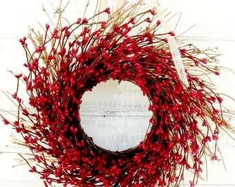 Scented MINI WREATH-Red Mini Window Wreath-Country Chic Wall Hanging-Rustic Home Decor-Small Wreath-Table Centerpiece-Custom Made Gifts