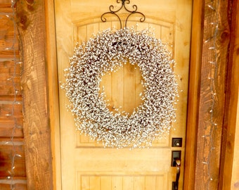 LARGE White Wreath-Fireplace Mantle Wreath-Home Decor-Summer Wreath-Inspired Vintage Shabby Chic Wedding Wreath-Wedding Decor-Scented Wreath