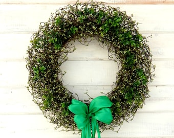 St. Patricks Day Wreath-Spring Wreath-St. Patricks Home Decor-LARGE Shamrock Wreath-Home Decor-Large Grapevine Wreath-Holiday Home Decor