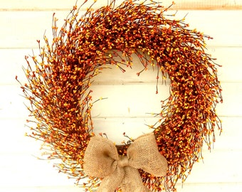 Fall Wreath-Thanksgiving Wreath-Large Fall Door Wreath-BURLAP Wreath-Autumn Wreath-ORANGE & YELLOW Wreath-Autumn Decor-Primitive Home Decor