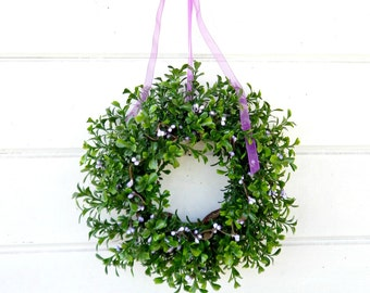 MINI Window Wreath-Country Cottage Wreath-Boxwood Wreath-Purple Wreath-Gift for Mom-Wall Hanging-Small Wreath-Scented Wreaths-Gift