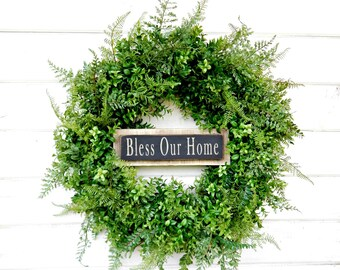 Farmhouse Wreath-BOXWOOD Wreath-Door Sign-Bless our Home-Housewarming Wreath-Fall Wreath-Outdoor Wreath-Year Round Wreath-Home Decor