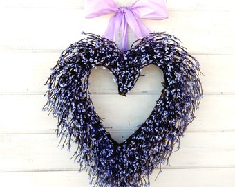 Valentine Heart Wreath-Valentines DayWedding Decor-Wedding Wreath-Heart Wreath-Weddings-Purple Heart Wreath-Mothers Day Wreath-Wedding Gift