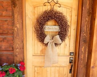 Fall Wreath-Fall Decor-BLESS OUR HOME-Door Wreaths-Large Burlap Wreath-Fall Door Decor-Rustic Home Decor-Autumn Decor-Custom Made Gifts