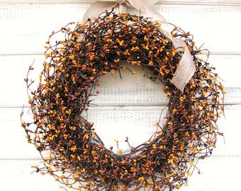 FALL WREATH-Pumpkin Pie Spice-Fall Berry Wreath-Thanksgiving Door Wreath-Autumn Wreath-Thanksgiving Home Decor-Custom Made SCENTED Wreaths
