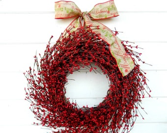 Christmas Wreath-Christmas Door Wreaths Holiday Wreath-Winter Wreath-Holiday Home Decor-RED BERRY Wreath-Holiday Wreath-Christmas Gift