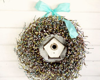 Spring Wreath-Spring Door Wreath-Summer Birdhouse Wreath-Blue BERRY WREATH-Summer Door Wreaths-Country Chic Home Decor-Scented Wreath-Gifts
