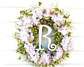 Wedding Decor-Weddings-Wedding Wreath-Hydrangea Wreath-Shabby Chic Wedding-Garden Wedding-Wedding Reception Decor-Gifts-Housewarming Gift