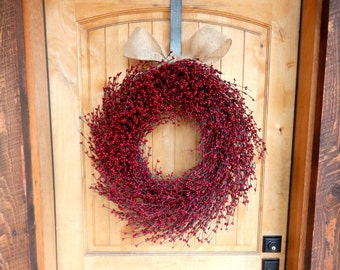 Christmas Wreath-Christmas Home Decor-Winter Wreath-Holiday Wreath-LARGE Red Wreath-Scented Wreath-Wreath for Fireplace-Holiday Home Decor