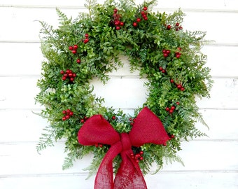 Summer Door Wreath-BOXWOOD Wreath-Summer Wreaths-Winter Door Wreath-Outdoor Wreath-Christmas Wreath-Weatherproof Wreath-Holiday Decor-Gifts