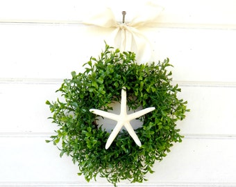 MINI Boxwood Wreath-Beach Decor-Mini Coastal Wreath-Starfish Wreath-Artifical Boxwood Wreath-Wall Hanging-Small Wreath-Custom Made Gifts