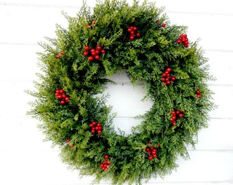 Christmas Wreath-Christmas Door Wreaths-Winter Wreath-Holiday Door Wreath-CEDAR Door Wreath-Christmas Home Decor-Outdoor Wreath-Gifts
