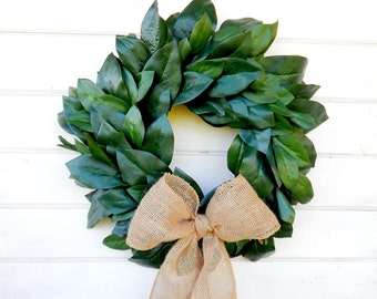MAGNOLIA Wreath-Farmhouse Wreath-Magnolia Door Wreath-Outdoor Wreath-All Season Door Wreaths-Housewarming Wreath-Wedding Gift-Gift for Mom