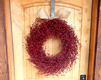 Summer Wreath-Summer Door Wreaths- Fall Wreath-4th of July Wreath-Holiday Decor-LARGE Red Wreath-Scented Wreath-Wreath for Fireplace-Gifts