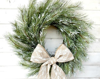 Christmas Wreath-Holiday Door Wreath-SNOWY PINE Wreath-Winter Door Wreath-Holiday Door Wreath-Christmas Wreath-Holiday Home Decor-Gifts