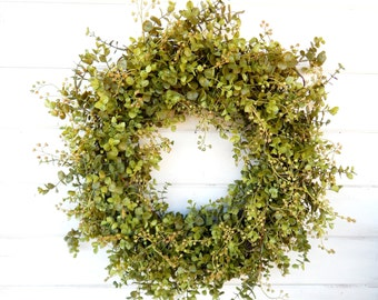 Spring Wreath-Farmhouse Wreath-Eucalyptus Wreath-Spring Door Wreath-Summer Door Wreaths-Outdoor Wreath-Year Round Wreath-Housewarming Gift