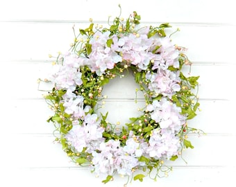 Wedding Wreath-Wedding Decor-Hydrangea Wreath-Shabby Chic Wedding-Garden Wedding-Wedding Reception Decor-Gift for Mom-Housewarming Gift-