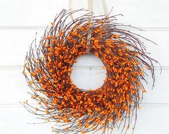 Fall Wreath-Mini Wreath-Orange Wreath-MINI Twig Wreath-ORANGE Mini Window Wreath-Wreaths-Fall Home Decor-Rustic Decor-Wall Decor-Gifts