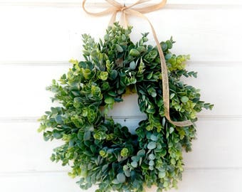 Frosted Eucalyptus Wreath-MINI Window Wreath-Farmhouse Decor-Country Cottage Wreath-Artifical Eucalyptus Wreath-Wall Decor-Small Wreath-Gift