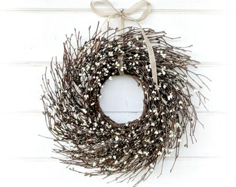 Fall Wreath-MINI Wreath-GRAY & CREAM Wreath-Mini Twig Wreath-Gray and Cream-Mini Window Wreath-Farmhouse Wreath-Rustic Decor-Wall Decor-Gift