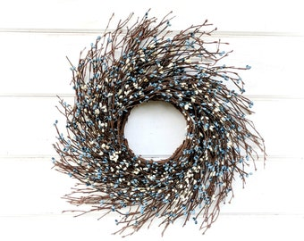 Fall Wreath-MINI Wreath-Blue Cream Wreath-Mini Twig Wreath-Blue & Cream-Mini Window Wreath-Farmhouse Wreath-Rustic Decor-Wall Decor-Gifts