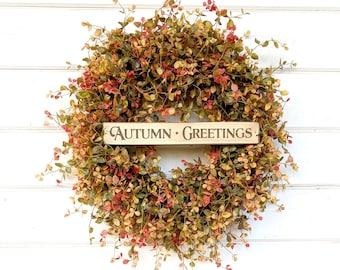 Fall Wreath-Fall Decor-Door Sign-Autumn Wreath-Thanksgiving Wreath-Front Door Wreath-Fall Home Decor-Outdoor Wreath-Farmhouse Decor-Gifts