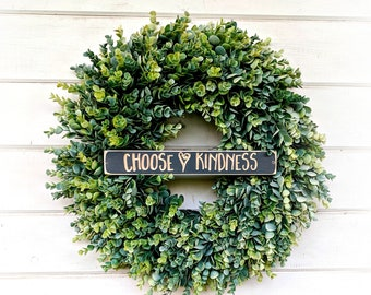 Farmhouse-Choose KINDNESS-Frosted EUCALYPTUS Wreath-Summer Wreath-Fall Wreath-Winter Wreath-Door Sign-Wreaths-Farmhouse Decor-Housewarming
