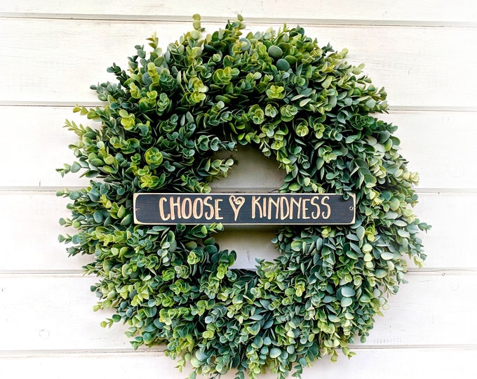 Featured listing image: Eucalyptus Wreath-Farmhouse Decor-Door Wreath-Choose KINDNESS-Summer Wreath-Fall Wreath-Winter Wreath-Door Sign-Wreaths-Door Decor-Gift