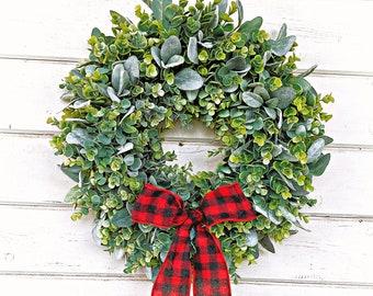Valentines Day Decor-Valentine Wreath-Winter Wreath-Buffalo Plaid Wreath-Farmhouse Christmas-Frosted EUCALYPTUS & LAMBS EAR Wreath-Wreaths