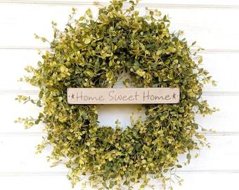 Farmhouse Decor-Door Sign-Fall Wreath-Greenery Wreath-Spring Wreath-Outdoor Wreath-Farmhouse Door Wreath-Summer Wreath-Housewarming Gift