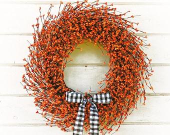 Fall Wreath-Thanksgiving Wreath-Halloween Decor-Buffalo Check Wreath-Orange Wreath-Farmhouse Wreath-Fall Farmhouse Decor-Thanksgiving Decor