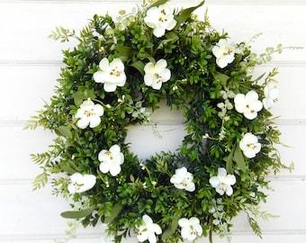 Boxwood Magnolia Wreath-Summer Wreath-Fall Wreath-Winter Wreath-Year Round Wreath-Farmhouse Decor-Door Wreaths-Home Decor-Housewarming Gift-