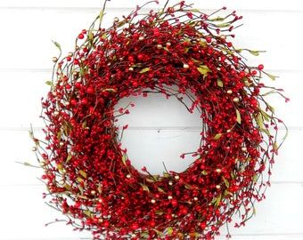 Winter Wreath-New Years Wreath-Holiday Wreath-Christmas Door Wreath-RED Berry Wreath-Rustic Christmas Wreath-Holiday Home Decor-Scent Wreath