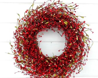 Valentine Wreath-Winter Wreath-Holiday Wreath-Christmas Door Wreath-RED Berry Wreath-Rustic Christmas Wreath-Holiday Home Decor-Scent Wreath