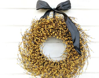 Farmhouse Decor-Yellow Wreath-Fall Wreath-Door Wreath-Autumn Decor-Rustic Farmhouse Home Decor-Fall Home Decor-Door Decor-Housewarming Gift