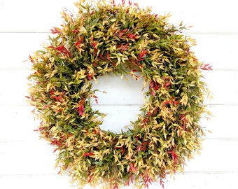 Fall Door Wreath-Greenery Wreath-Fall Wreath-Farmhouse Decor-Fall Decor-Autumn Decor-Outdoor Wreath-Front Door Wreath-Housewarming Gift