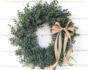 Spring Wreath-Farmhouse Wreath-BLUE Boxwood Wreath-Fall Wreath-Winter Wreath-Summer Door Wreaths-Outdoor Wreath-Year Round Wreath-Gift