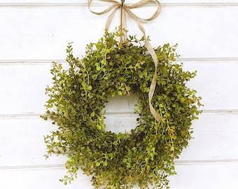 Farmhouse Wreath-Fall Wreath-MINI Window Wreath-Baby Eucalyptus Wreath-Farmhouse Decor-Boxwood Wreath-Wall Decor-Small Wreath-Gifts